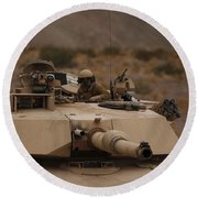 Soldier Looks Out The Main Hatch Round Beach Towel
