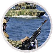 Soldier Mans A M240g Machine Gun While Round Beach Towel