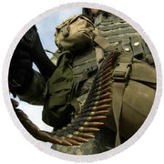 Soldier Mans A Vehicle Mounted 7.62 Mm Round Beach Towel by Stocktrek Images