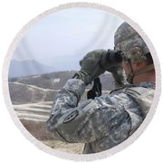 Soldier Observes An Adjust Fire Mission Round Beach Towel