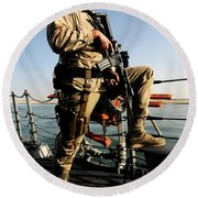 Soldier Stands Watch Aboard Uss Momsen Round Beach Towel