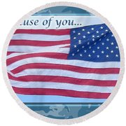 Soldier Veteran Thank You Round Beach Towel