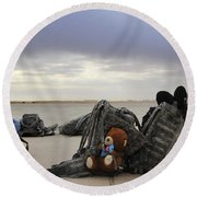 Soldiers Backpacks On The Flight Line Round Beach Towel