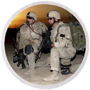 Soldiers Call In Air Support Round Beach Towel by Stocktrek Images