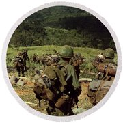 Soldiers Descend The Side Of Hill 742 Round Beach Towel