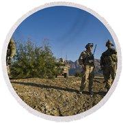 Soldiers Discuss A Strategic Plan Round Beach Towel