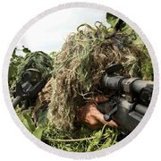 Soldiers Dressed In Ghillie Suits Round Beach Towel