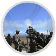 Soldiers Firing The M777 Howitzer Round Beach Towel