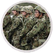 Soldiers From The Japan Ground Self Round Beach Towel by Stocktrek Images