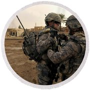 Soldiers Help One Another Round Beach Towel by Stocktrek Images
