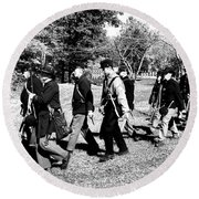 Soldiers March Black And White II Round Beach Towel