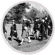 Soldiers March Black And White IIi Round Beach Towel