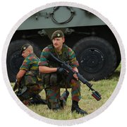 Soldiers Of An Infantry Unit Round Beach Towel