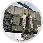 Soldiers Set Up A Tps-75 Radar Round Beach Towel