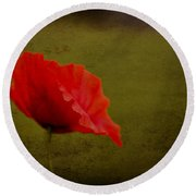 Solitary Poppy. Round Beach Towel