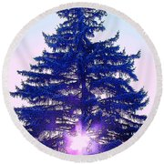 Solitary Trees Poster Round Beach Towel