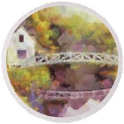 Somes Bridge - Somesville Maine Round Beach Towel