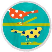 Song Birds Round Beach Towel