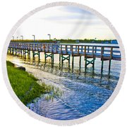 Soundside Park Surf City Round Beach Towel