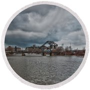 South Buffalo Rail Bridge Round Beach Towel