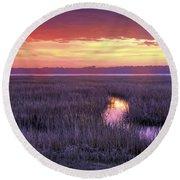South Carolina Tidal Marshes Round Beach Towel