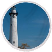 South Manitou Island Lighthouse Round Beach Towel