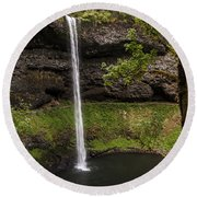 South Silver Falls Into The Pool Round Beach Towel