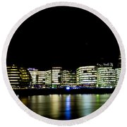 Southbank London At Night Round Beach Towel