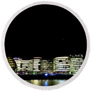Southbank View Across The River Thames Round Beach Towel