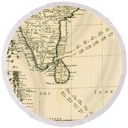 Southern India And Ceylon Round Beach Towel
