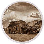 Southwest Indian Rock House And Lightning Striking Round Beach Towel