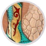 Southwest Snakeskin Boots Round Beach Towel