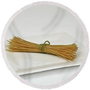 Soybean Spaghetti Round Beach Towel by Photo Researchers