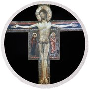 Sozio: Crucifix, 13th C Round Beach Towel