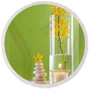 Spa Concepts With Green Background Round Beach Towel