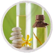 Spa Oil Bottles Round Beach Towel