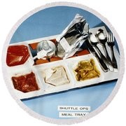 Space: Food Tray, 1982 Round Beach Towel