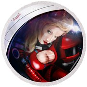 Space Girl Round Beach Towel