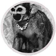 Space Monkey: Baker, 1979 Round Beach Towel