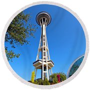 Space Needle In Seattle Washington  Round Beach Towel