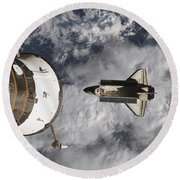 Space Shuttle Atlantis And The Docked Round Beach Towel