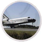 Space Shuttle Atlantis Touches Round Beach Towel