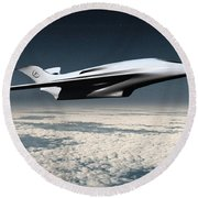 Space Transport Round Beach Towel