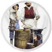Spaghetti Vendor Round Beach Towel