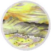 Spanish Mountain Village 01 Round Beach Towel