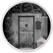 Spanish Renaissance Courtyard Door Round Beach Towel