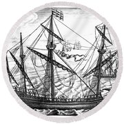 Spanish Ship, C1595 Round Beach Towel