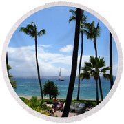 Sparkling Sea At Kaanapali Maui Round Beach Towel