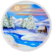 Sparkling Winter Round Beach Towel