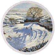 Sparrowpit Derbyshire Round Beach Towel by Andrew Macara